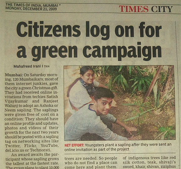 Citizens log on for a green campaign - The Sapling Project - The Times of India